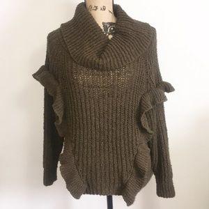 Express Cowl Neck Ruffle Sweater